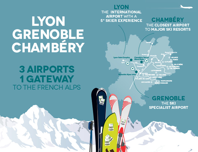 Chambéry, Grenoble and Lyon aiports - Book now your next flight and shuttle to the French Alps Ski Resorts